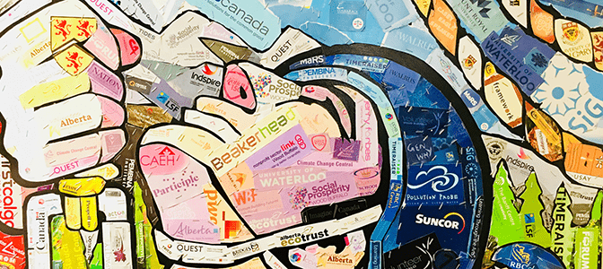 An abstract art work showing from the Gathering, showing a compilation of the event sponsors.